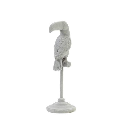 Ornament op voet 9,5x9,5x28,5 cm PARROT grijs