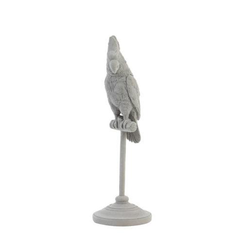 Ornament op voet 9,5x9,5x29,5 cm PARROT grijs