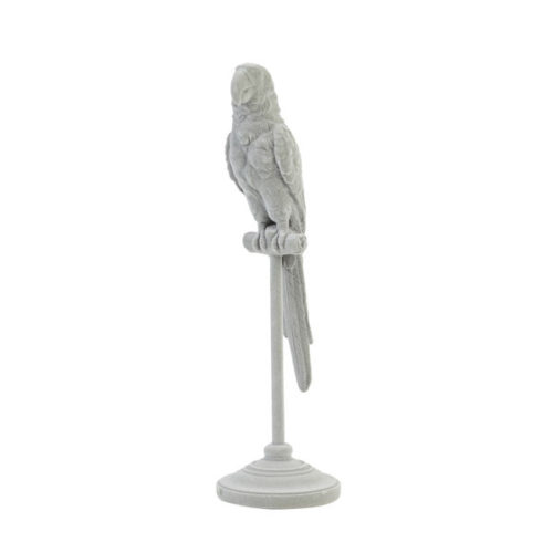 Ornament op voet 10x10x33 cm PARROT grijs
