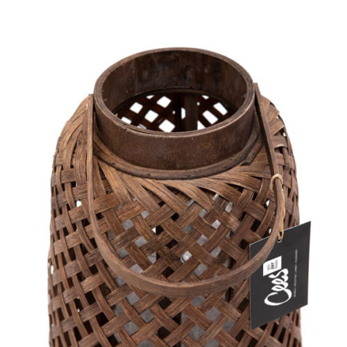 Bamboe lantaarn 26x26x46cm
