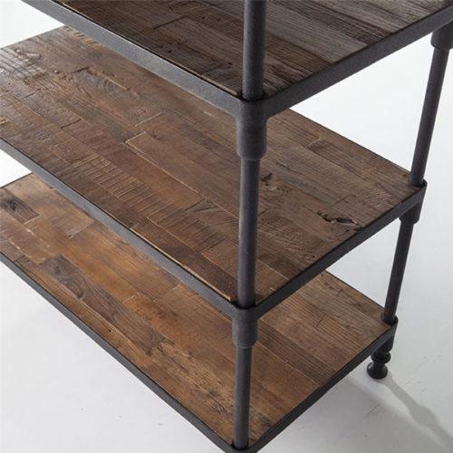 Boekenkast metaal/hout 100x200cm