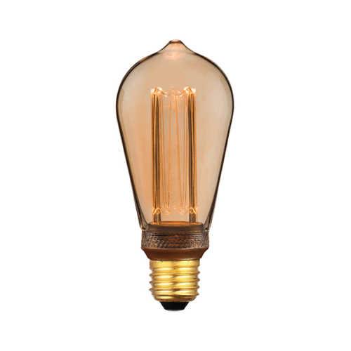 3-standen Edison Gold 6,4cm LED E27