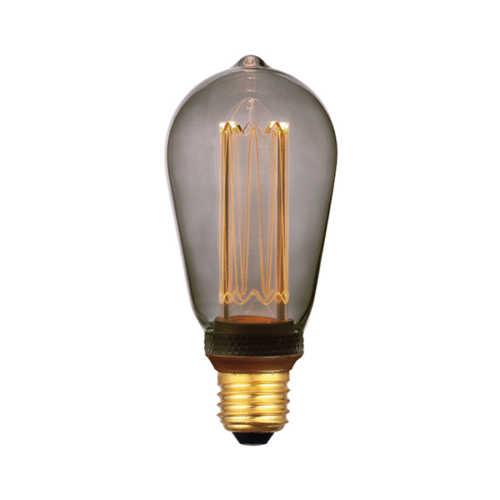 3-standen Edison Smoke 6,4cm LED E27