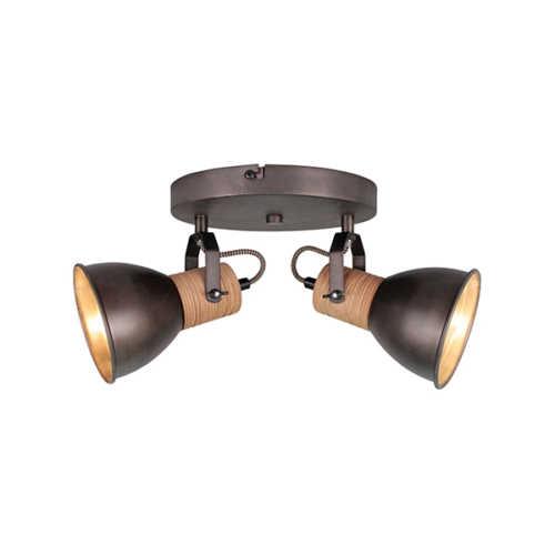 2-lichts Spot Veleno - Zwart Hout