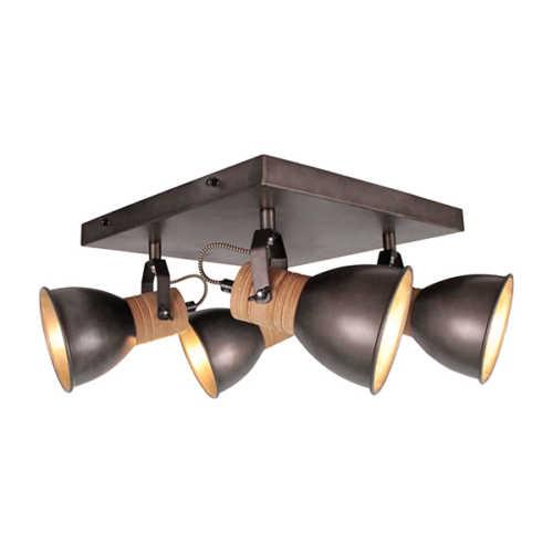 4-lichts Spot Veleno - Zwart Hout