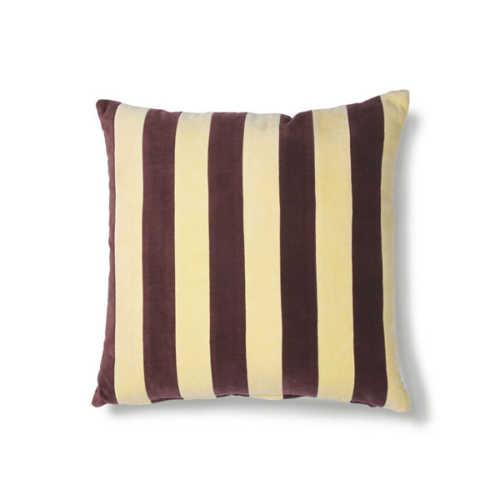 HK Living Cushion Striped velvet 50x50cm - Yellow/Purple