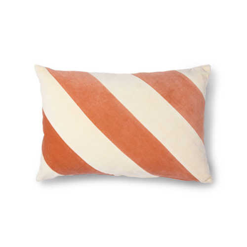 HK Living Cushion Striped velvet 40x60cm - Peach/Cream
