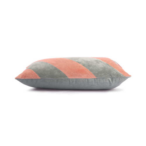 HK Living Cushion Striped velvet 40x60cm - Grey/Nude