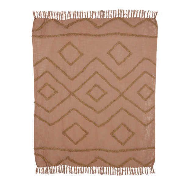 HK Living Plaid Fringe pattern 130x170cm - Brown