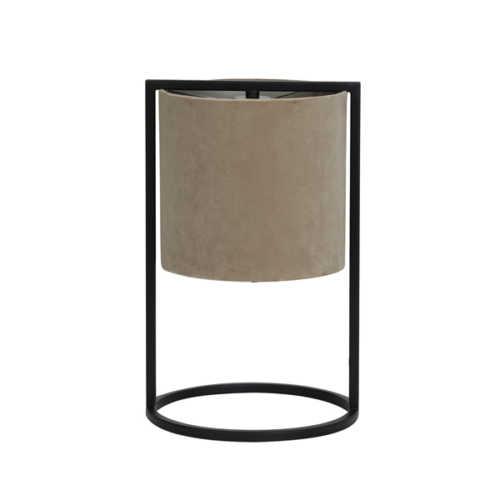 Tafellamp 22x35cm SANTOS mat zwart + kap licht bruin