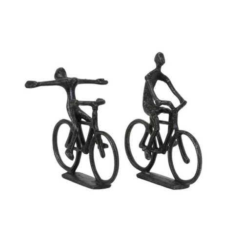 Ornament S/2 CYCLISTS antiek black pearl