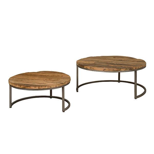 Salontafel set/2 - Railway wood met metalen frame