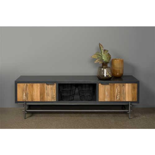 TV-meubel Pesaro 150cm - Recycled teak met metalen frame