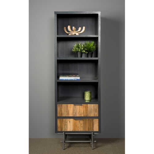 Open boekenkast Pesaro - Recycled teak met metalen frame