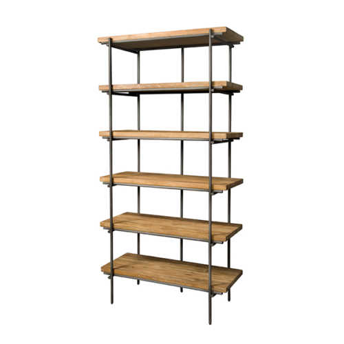 Boekenkast Pesaro - Recycled teak met metalen frame