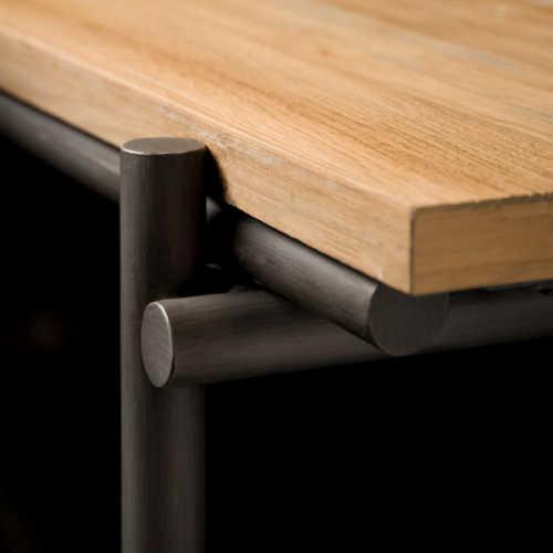 Open salontafel Pesaro 100x100cm - Recycled teak met metalen frame