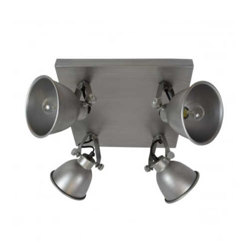 Spot/Plafondlamp industrial 4-lichts antique zink
