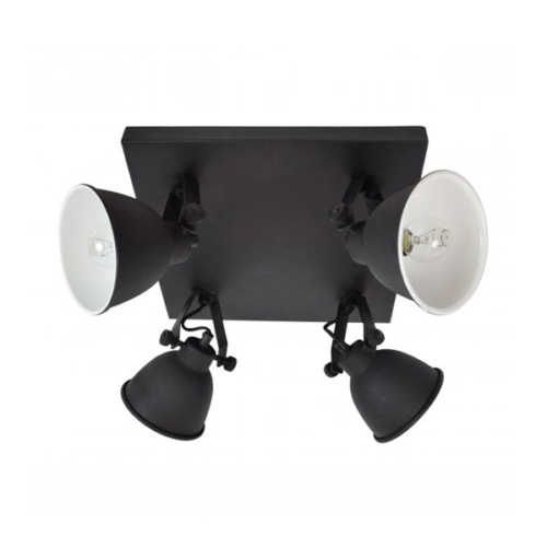 Spot/Plafondlamp industrial 4-lichts vintage black