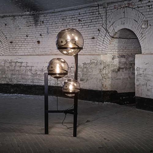 Vloerlamp Orb 3-lichts 25/30/40cm - Smoke glas