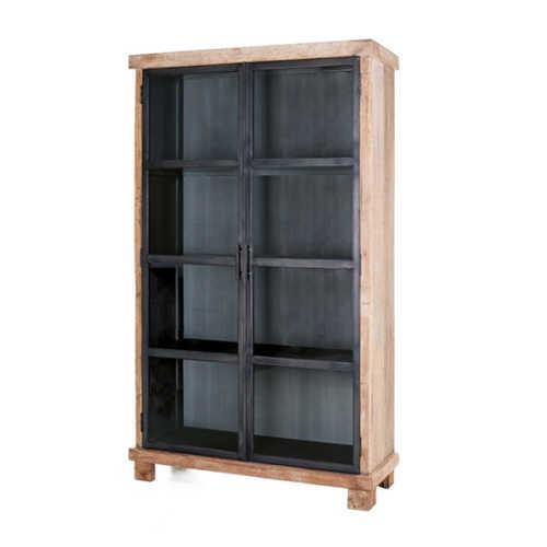 Vitrinekast Teak hout - 2 deuren