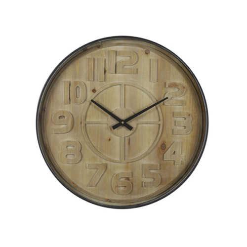 Klok 60x6 cm LOGAN hout bruin/zwart