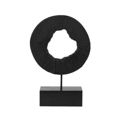 Houten ornament op voet XERRA - Zwart