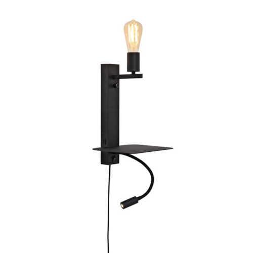 Wandlamp Florence met plank/usb/leeslamp - Zwart