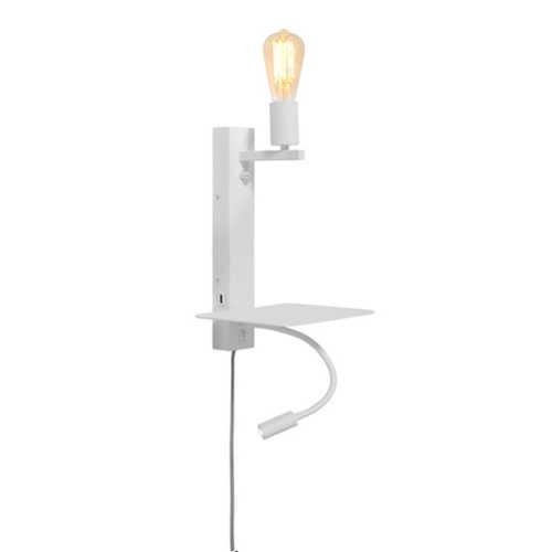 Wandlamp Florence met plank/usb/leeslamp - Wit