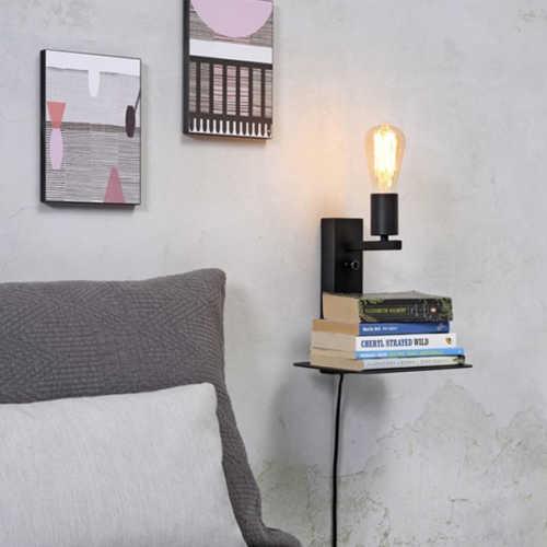 Wandlamp Florence met plank/usb - Zwart