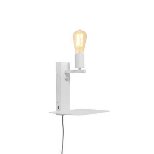 Wandlamp Florence met plank/usb - Wit