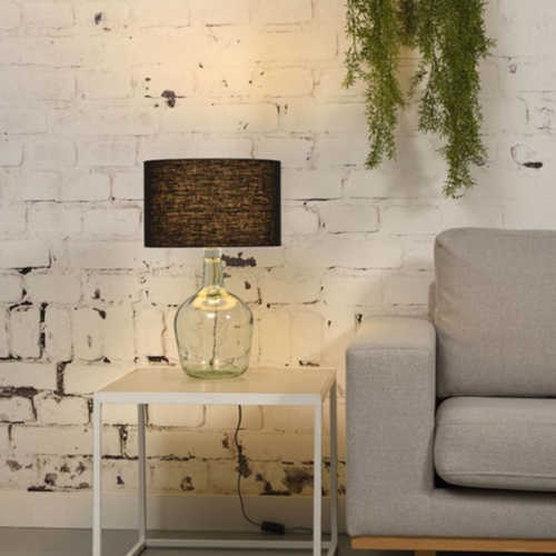 Tafellamp Murano glas + eco linnen kap - Zwart