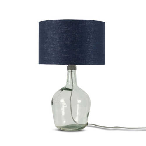 Tafellamp Murano glas + eco linnen kap - Blue Denim