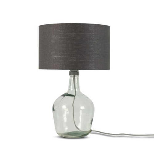 Tafellamp Murano glas + eco linnen kap - Donkergrijs