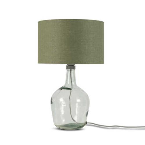Tafellamp Murano glas + eco linnen kap - Green Forest