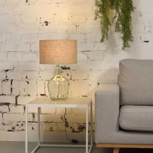 Tafellamp Murano glas + eco linnen kap - Dark Linen
