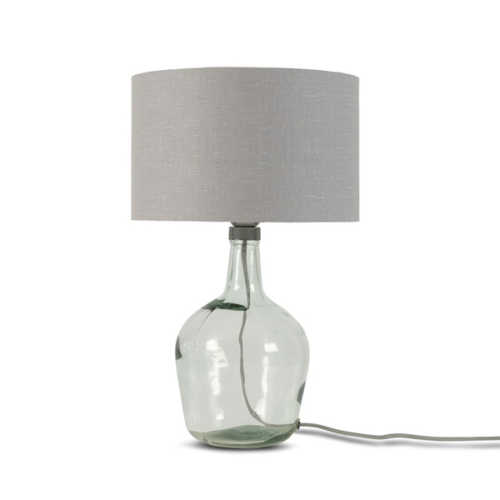 Tafellamp Murano glas + eco linnen kap - Lichtgrijs