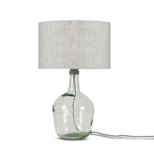 Tafellamp Murano glas + eco linnen kap - Light Linen