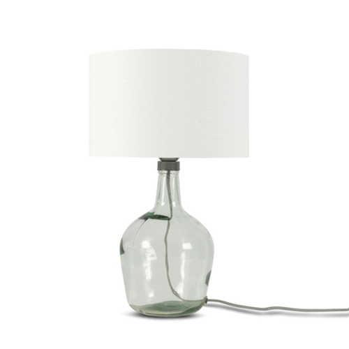 Tafellamp Murano glas + eco linnen kap - Wit
