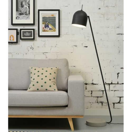 Vloerlamp Madrid ijzer/cement - Zwart