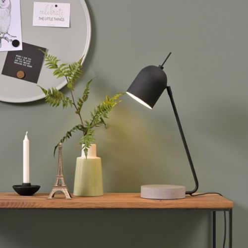 Tafellamp Madrid ijzer/cement - Zwart