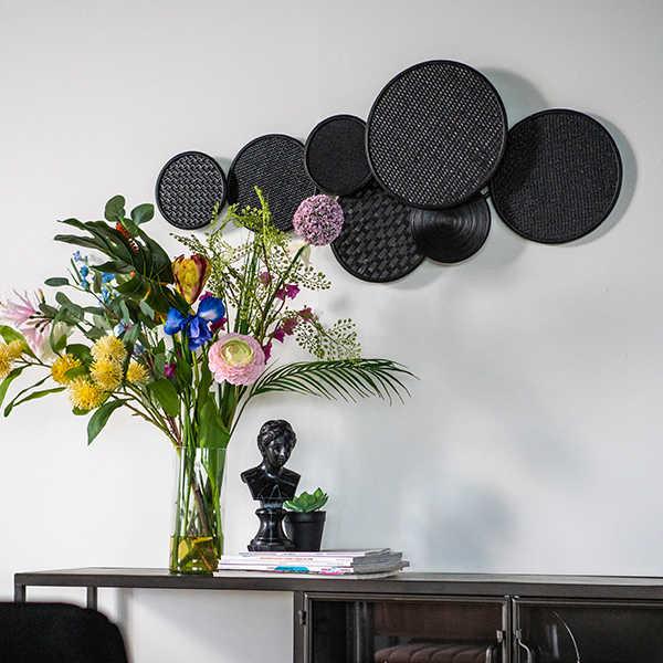Wanddecoratie Round & Round - Zwart