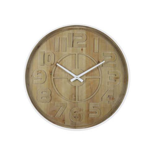 Klok 60x6cm LOGAN hout bruin/wit