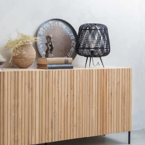 WOOOD Tafellamp Moza bamboe - Zwart