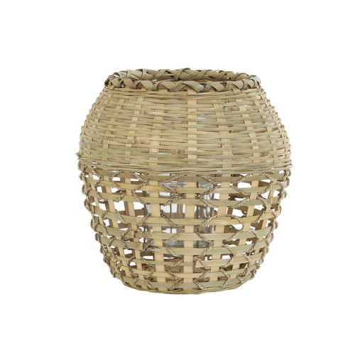Windlicht 28x30 cm SOLAKA bamboe naturel