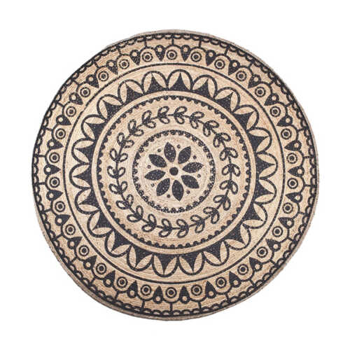 Vloerkleed Jute round 220x220cm - Black