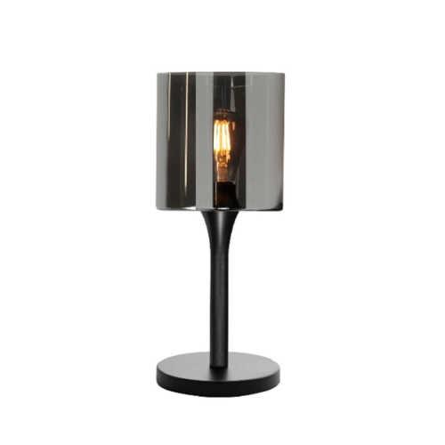 Tafellamp Diverso glas Smoke - Mat zwart