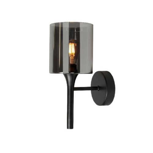 Wandlamp Diverso glas Smoke - Mat zwart