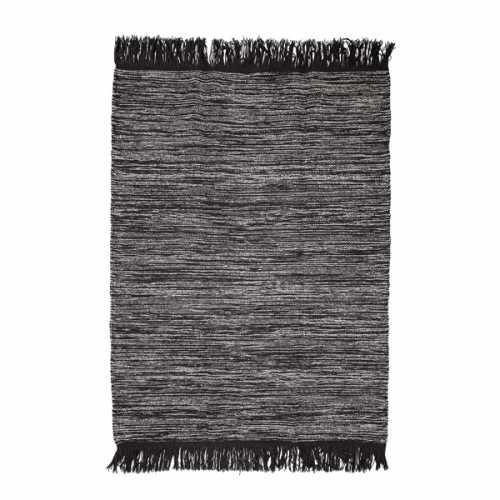 Bloomingville Vloerkleed wol met franjes 200x140cm - Grijs/Zwart