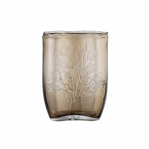 Bloomingville Glazen vaas met boom print - Bruin