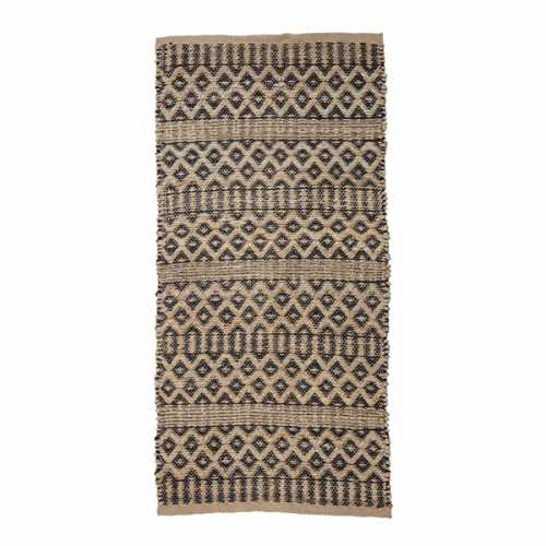 Bloomingville Vloerkleed jute met astec print 140x70cm - Naturel/Zwart